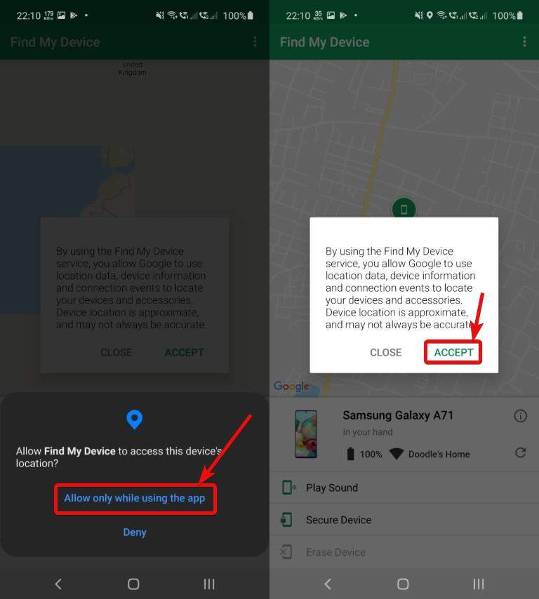 allow location access to Google Find My Device