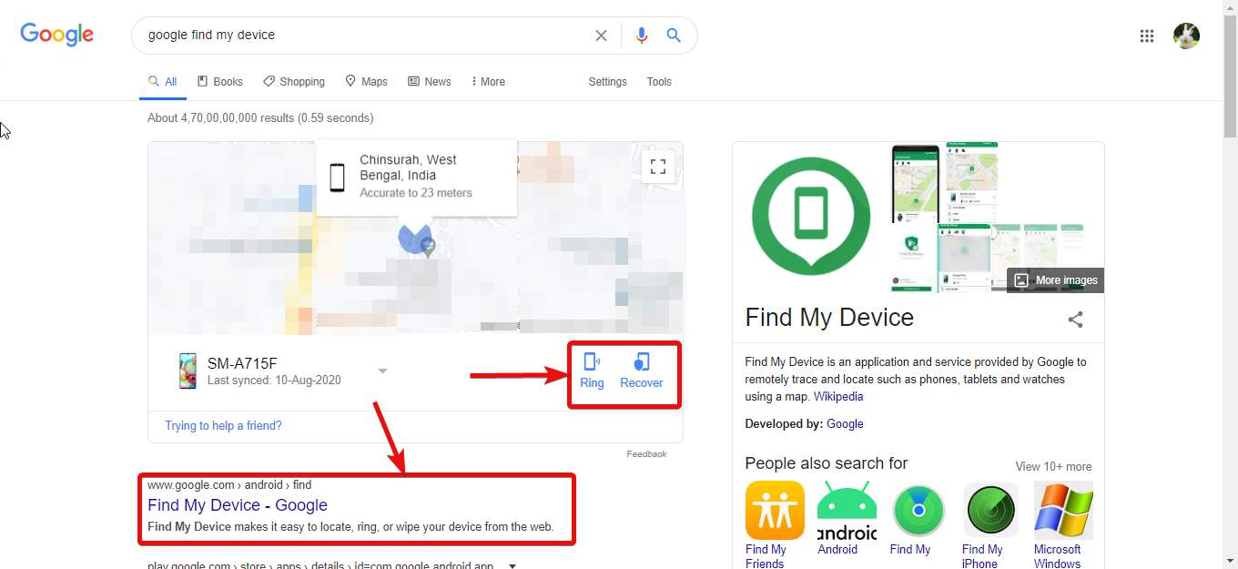 Web panel for Google Find My Device