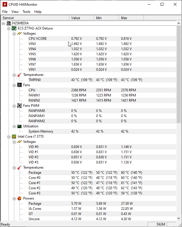 HWMonitor x64 screenshot