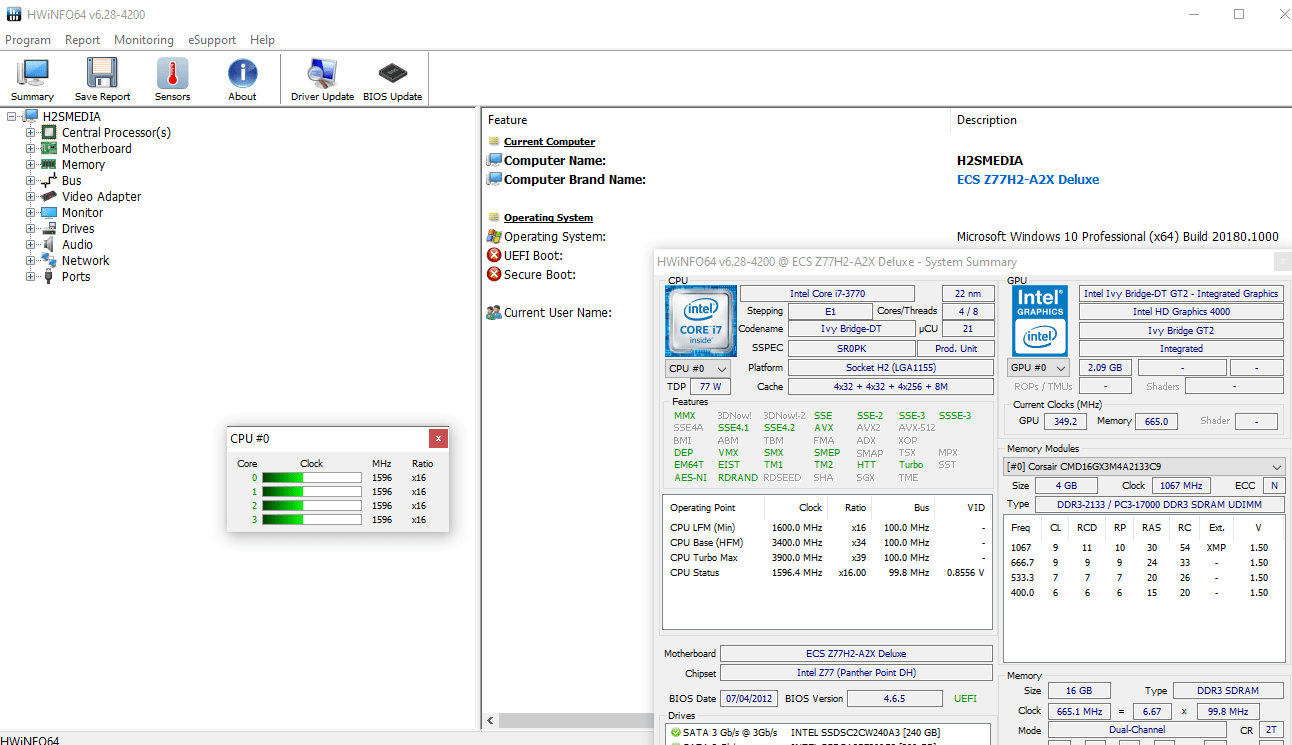 HWiNFO free tool with Sidebar Gadget for windows 10