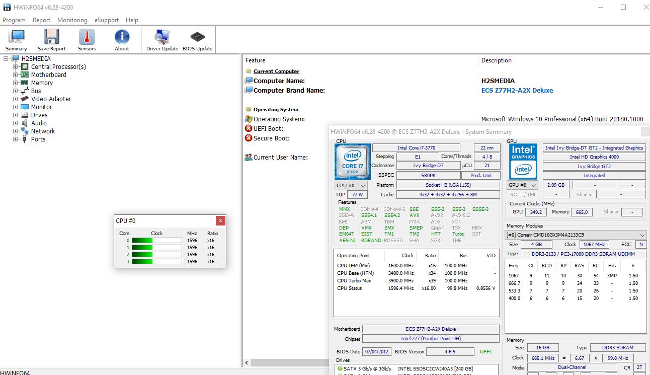 Outil gratuit HWiNFO avec Sidebar Gadget pour Windows 10
