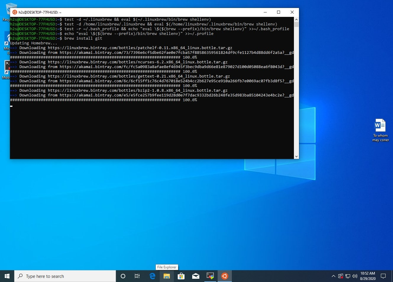Install Homw Bre w on Windows 10 WSL Windows subsystem for Linux min
