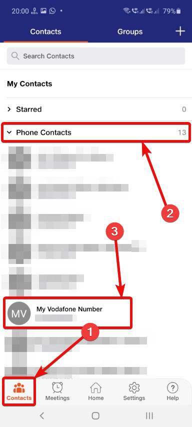 JioMeet Phone Contacts
