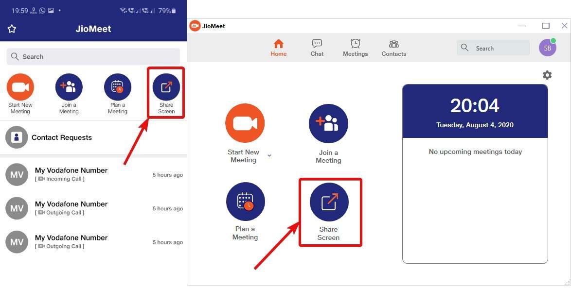 JioMeet share screen