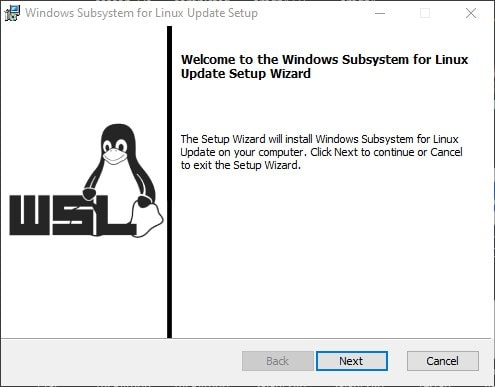 Microsoft Windows Subsystem for Linux update wizard