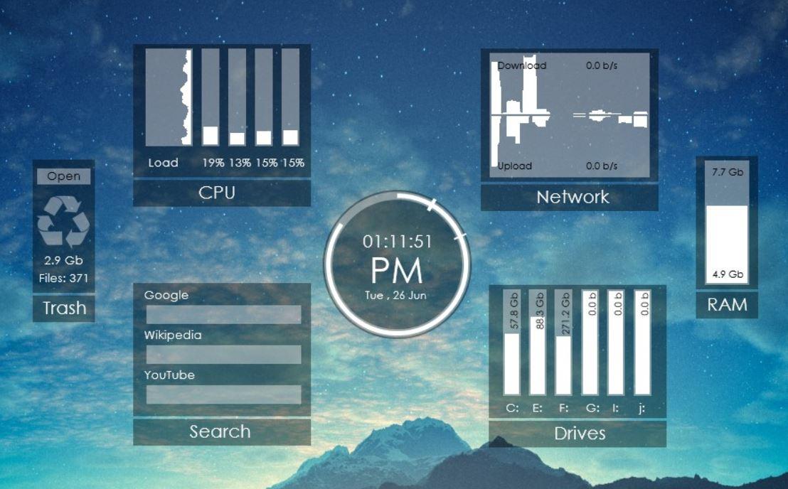 Rainmeter CPU and Tempreature monitor windows 10 min