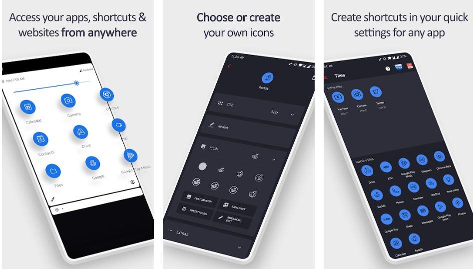 Tile Shortcuts Quick settings apps shortcuts min