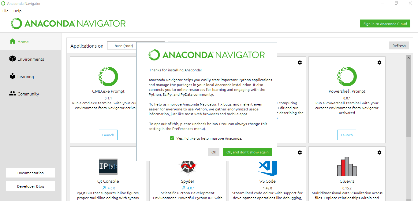 anaconda review user interface screenshot