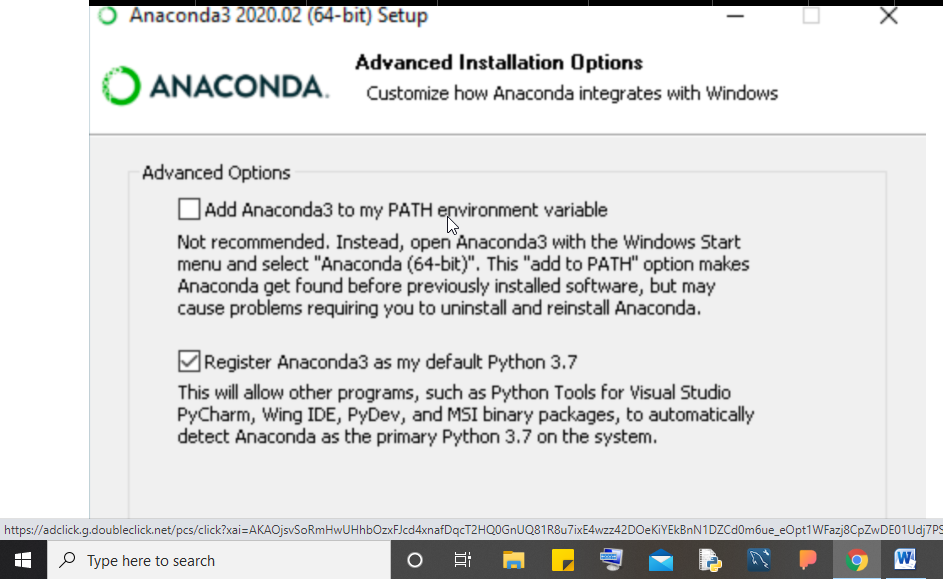 Anaconda installation for Python on Windows 10