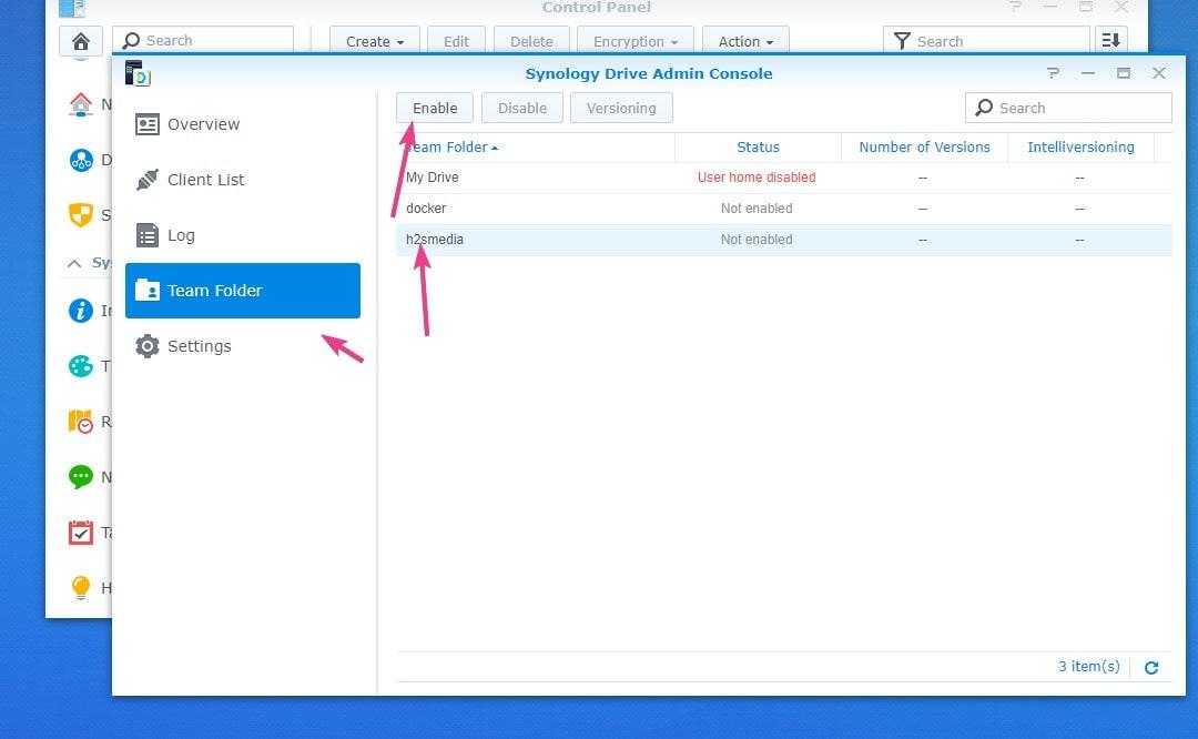 Set Team folder for Synology Drive