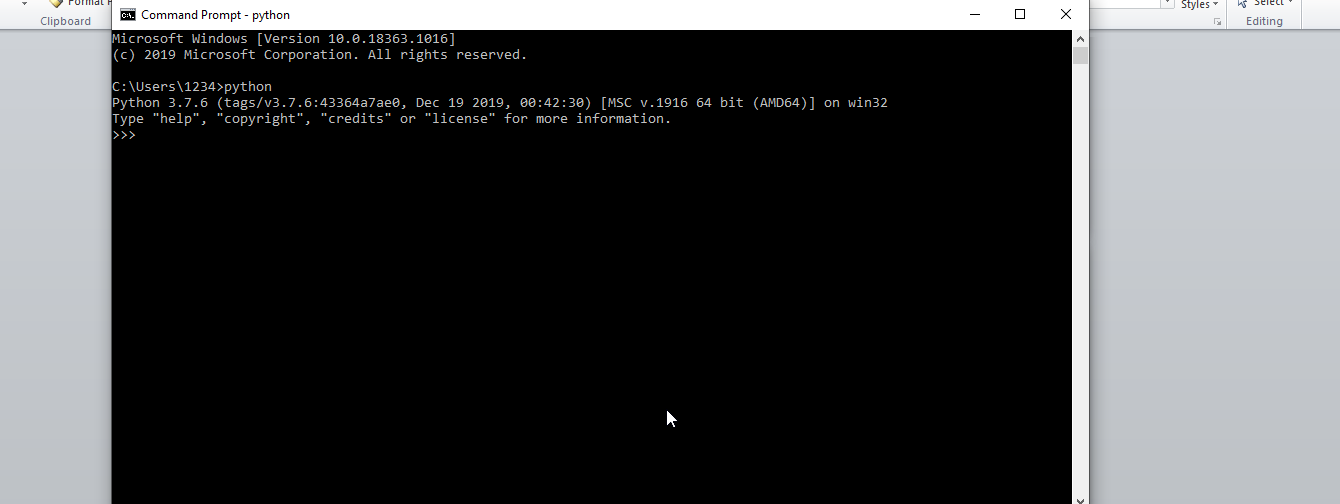 Open Command Prompt and run Python