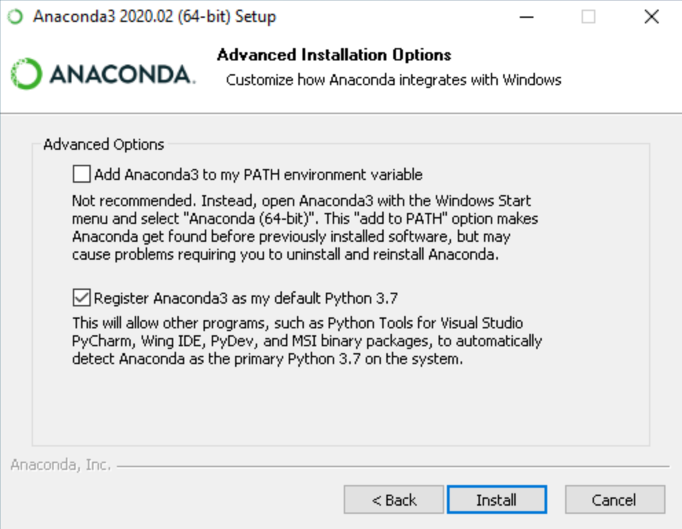 Anaconda Windows 10 install options