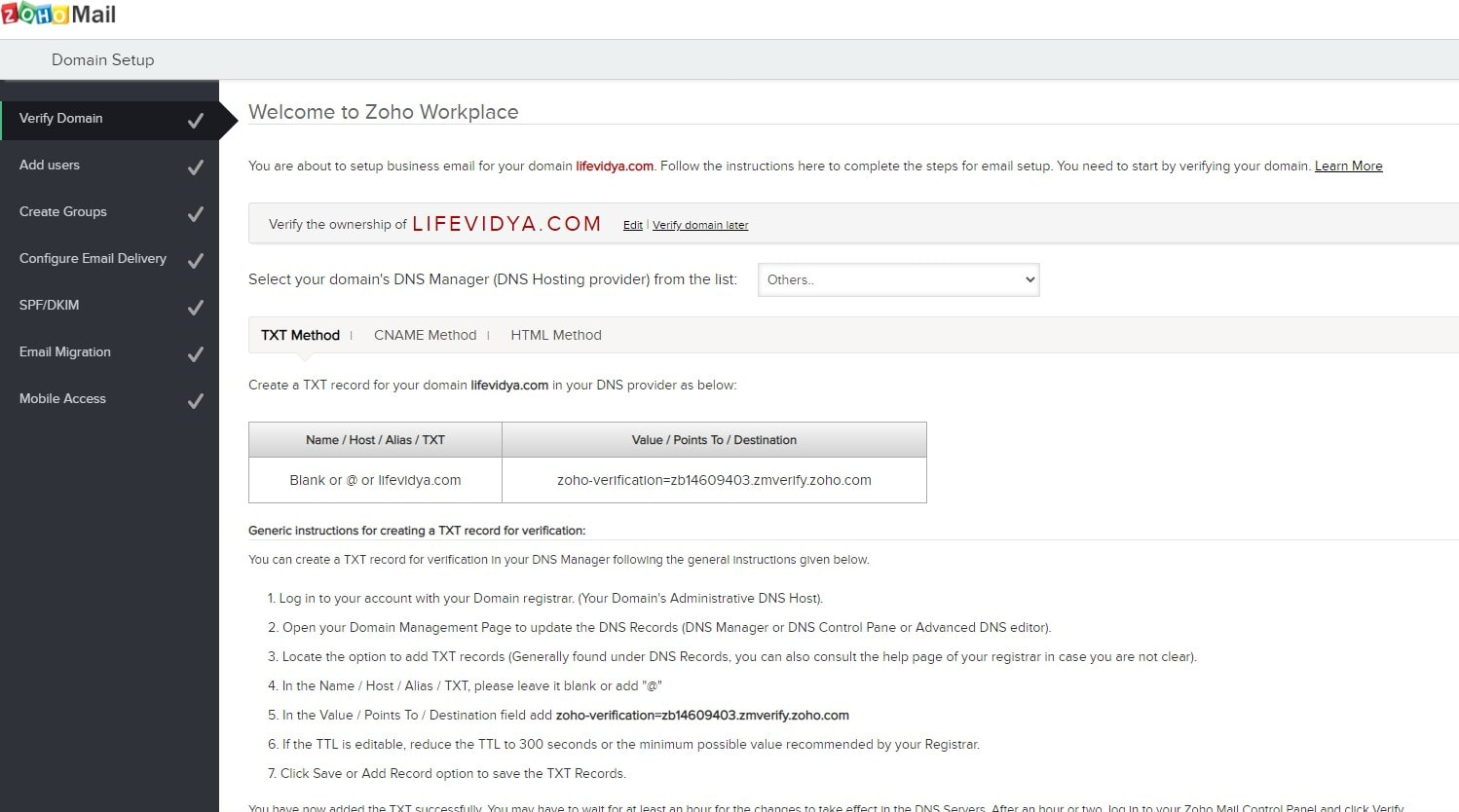 Add Domain TXT values to Verfiy Zoho Free Business email address
