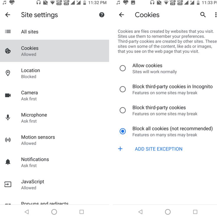 Block all cookies on ANdroid Google Chrome