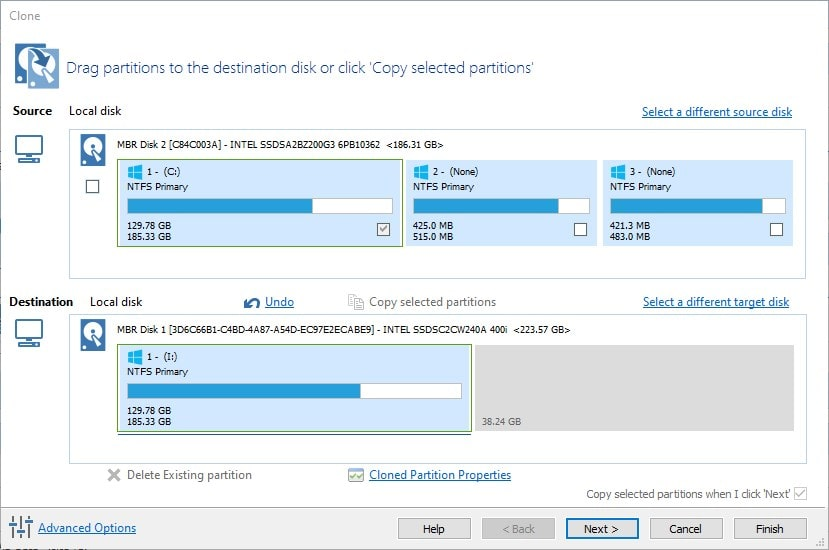 Copy the Windows 10 or 7 Drive partitions