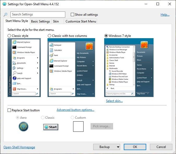Different Start menu layouts