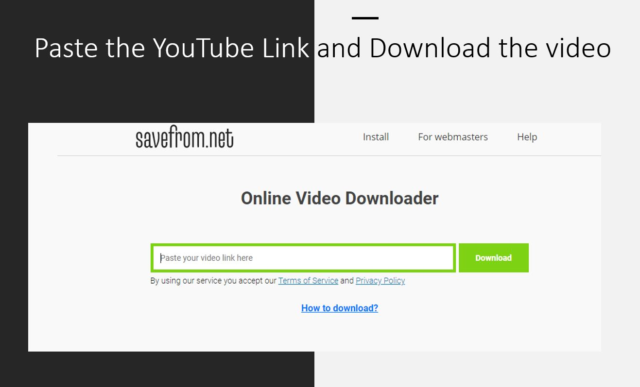 Download YouTube videos with Savefrom