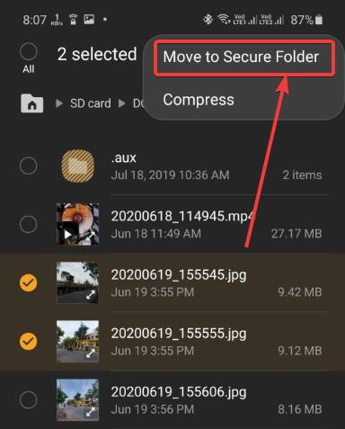Moving photos and videos to Samsung secure folder