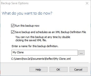 Save the Back up file