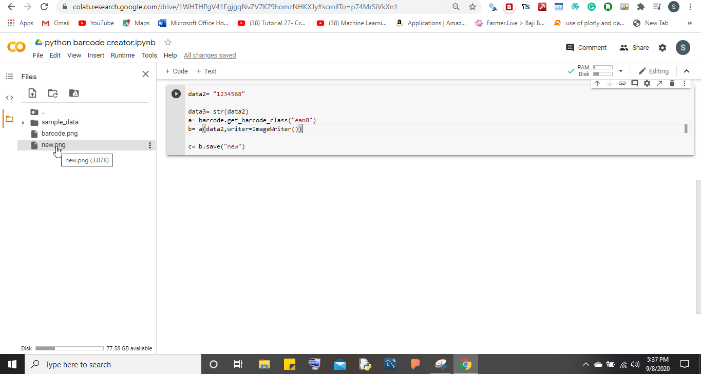create a Barcode using Python