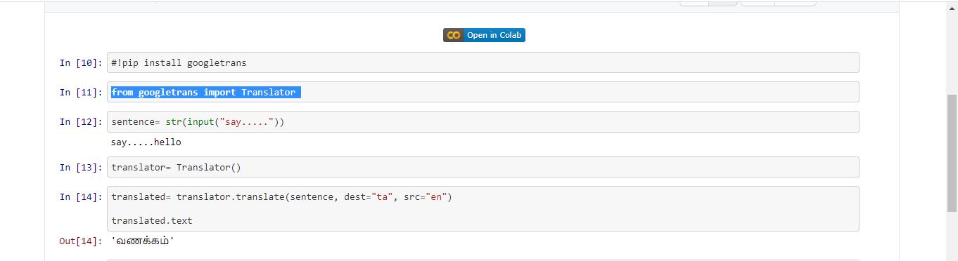 Translate language using Python
