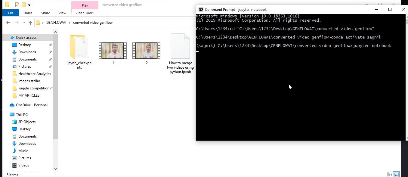 use moviepy to merge two videos using python