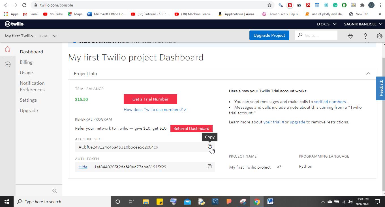 twilio project dashboard