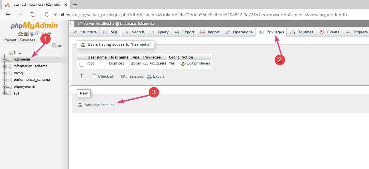 Add MySQL user via PHPMYADMIN