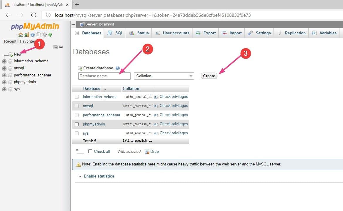 Create mysql database in phpmyadmin