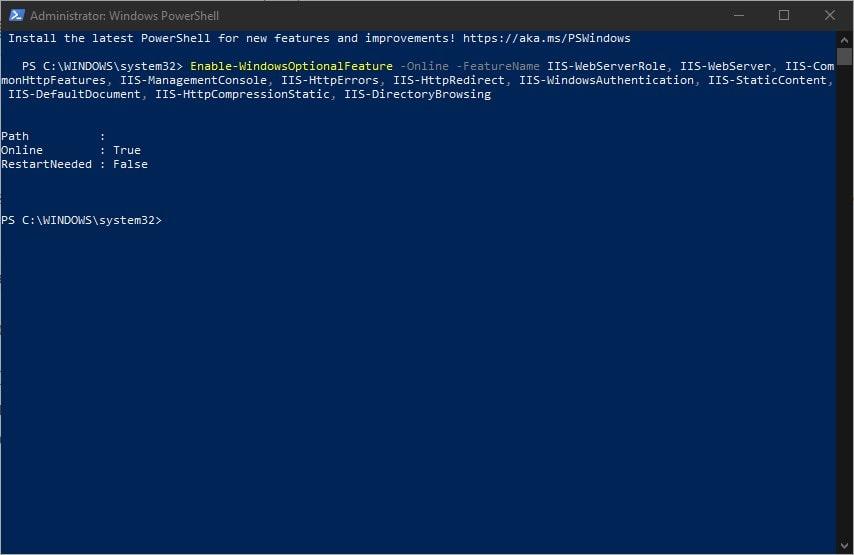 Install IIS web server and Windows Authentication on Windows 10 using Powershell command line
