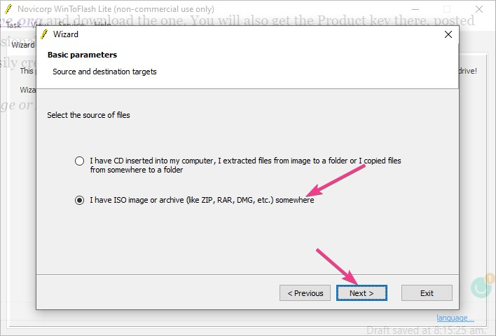 Select Windows XP ISO file to create USB drive