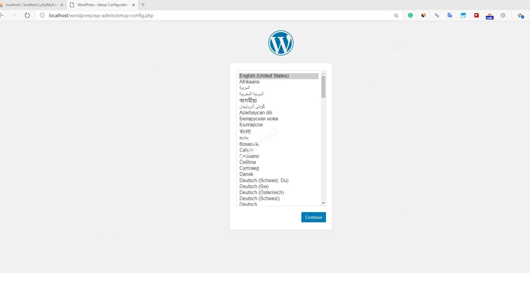 Select WordPress langauge