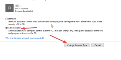 Change Account type to Administrator min