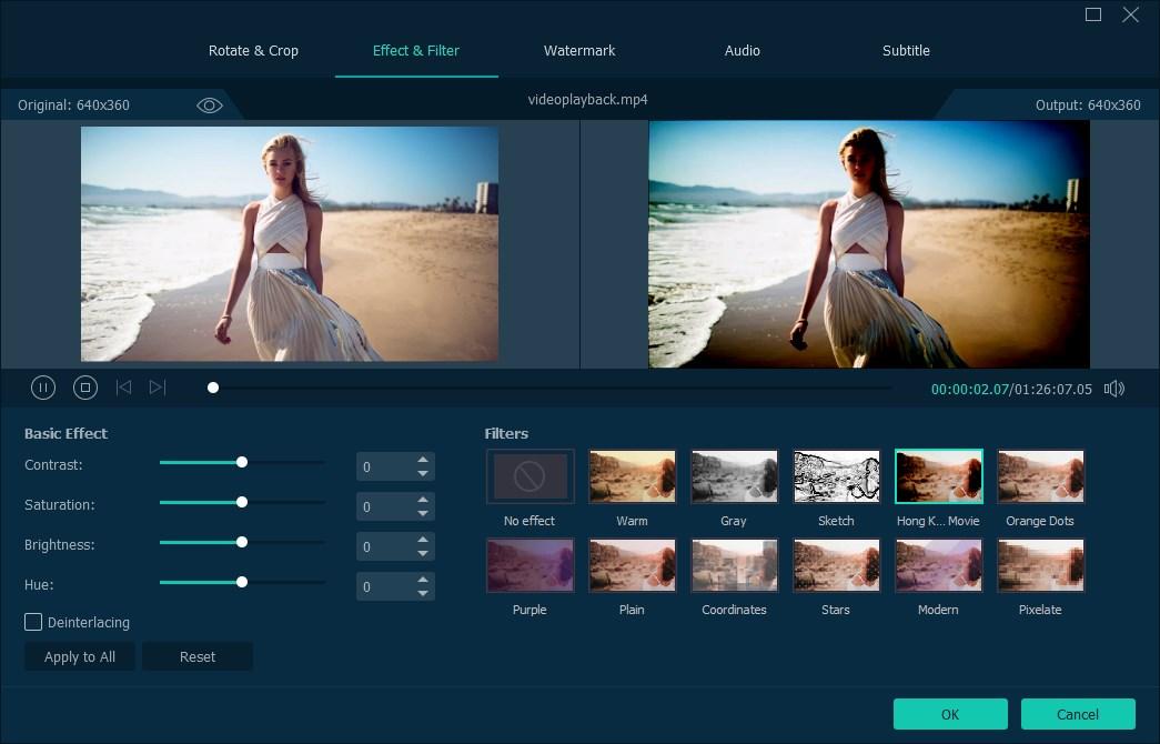 Effects on Videosolo video convertor