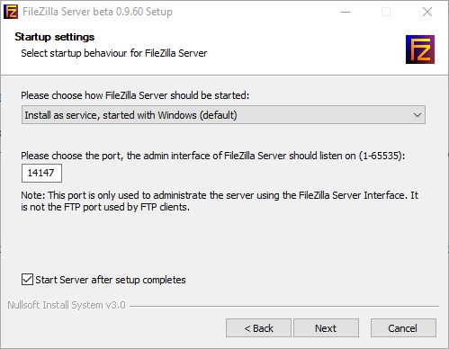 FileZilla Server installation on WIndows 10