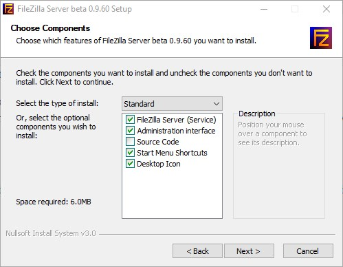 Select FileZilla components to install