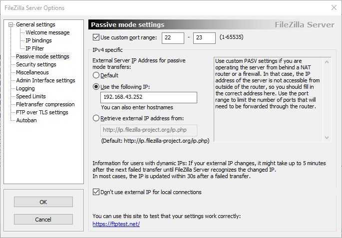 Set FileZilla Passive server settings