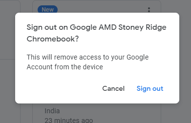 Signout Primary account login Google OS. Chrombook