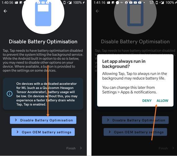 Disable Battery optimzation for app to run in bakcground min
