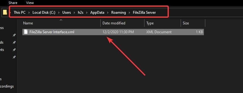 FileZilla Server Interface XML file