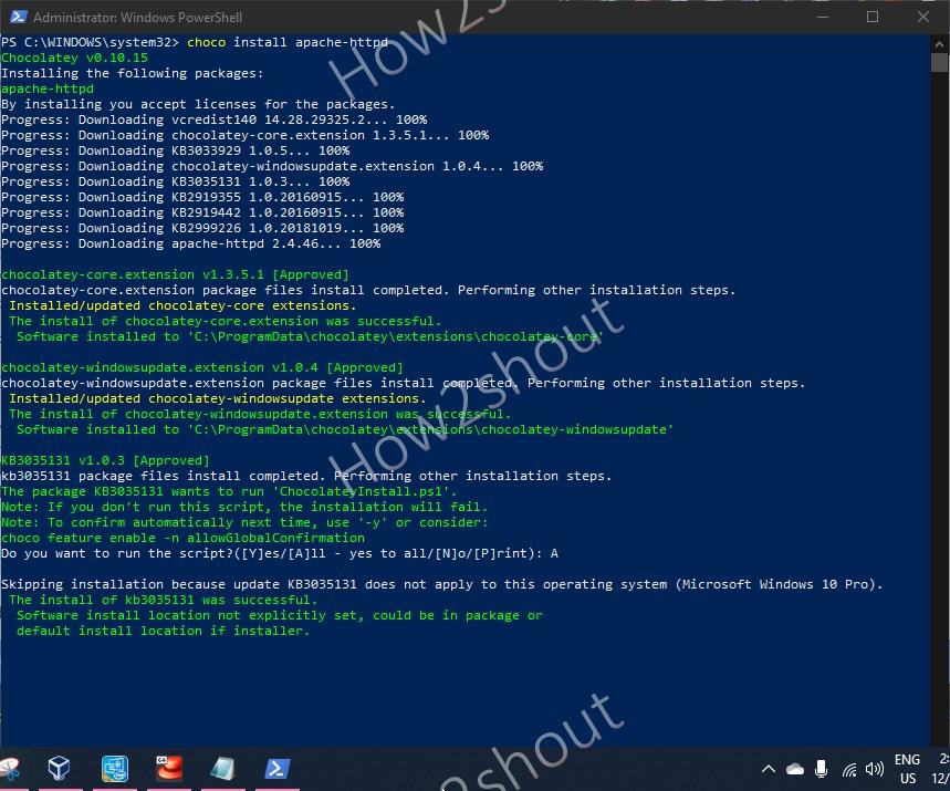 Install Apache https server using chocolatey choco