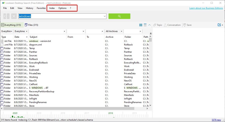 Lookeen free windows Desktop Search tool