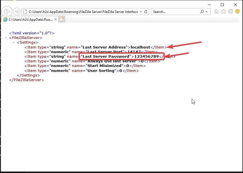Recover FileZilla FTP Server Password