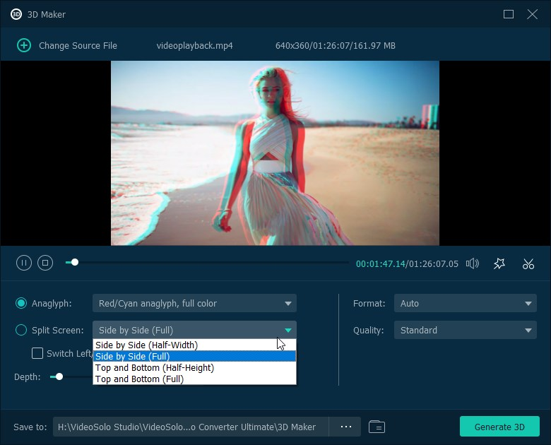 VideoSolo Video converter 3D conversion