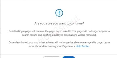 Confirm the deactivation of LinkedIn company page