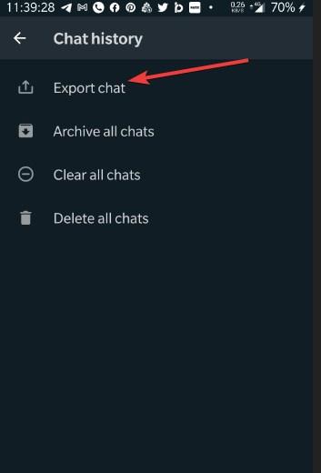 Export Chat whatsapp option