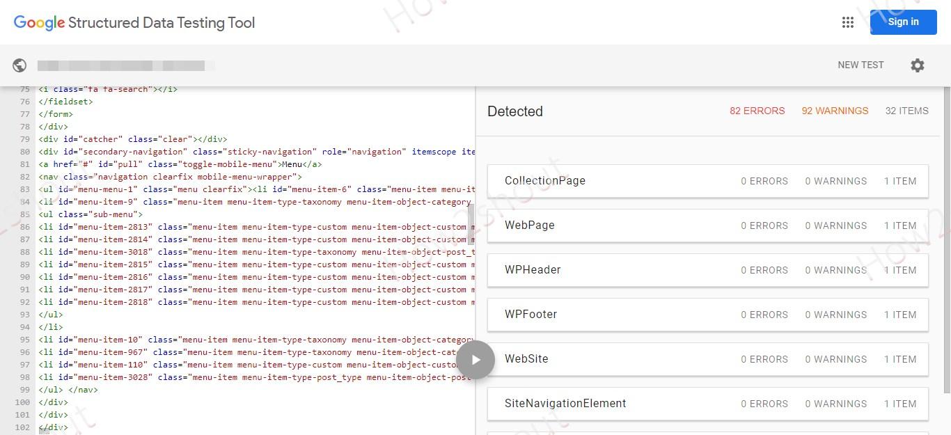 Google Schema checking online tool