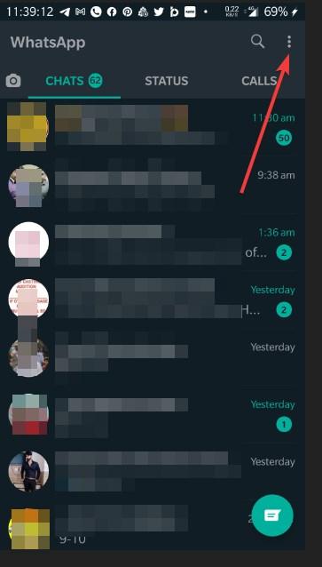 Open Whatsapp Settings