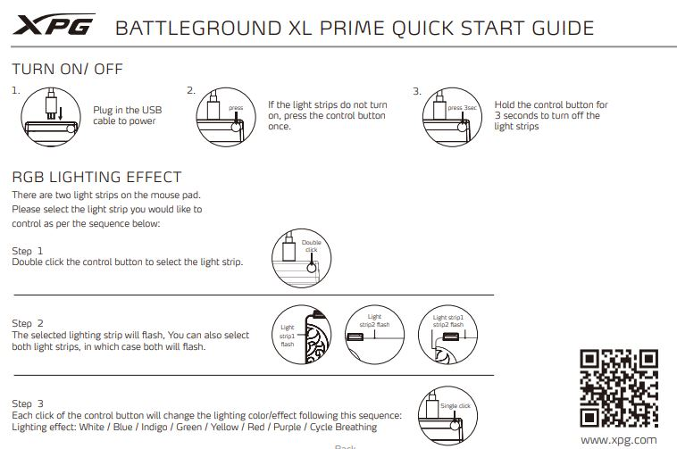 XPG Battle ground Prime XL mouse pad Quick Guide