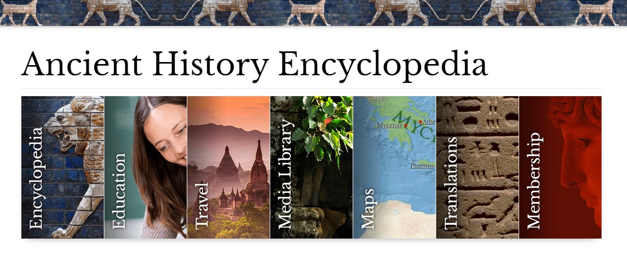 Ancient History Encyclopedia cools website for kids
